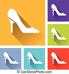 six high heels icons - Illustration of six high heels icons