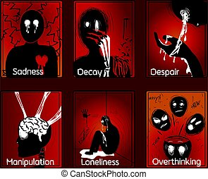 Six horror tarot cards about human emotions and sorrow. ...