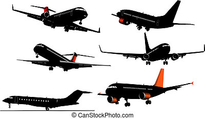six, illustration, silhouettes, vecteur, avion, concepteurs