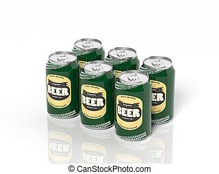six, isolé, collection, bière, boîtes, blanc, meute, 3d