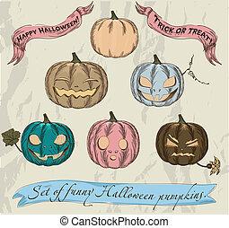 Six isolated Halloween pumpkins set.