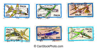 Six Italian stamps, war planes