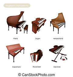 Illustration Brown Color of Vintage Musical Keyboard Instrument, Trombone, Baritone, Euphonium, Tuba and Sousaohone Isolated on White Background