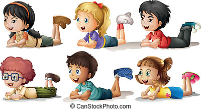 Illustration of the six kids on a white background