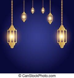 six lamp on blue background