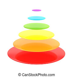 Six layer cone pyramid isolated - Six layer cone rainbow...