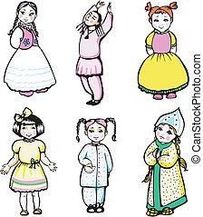 six little girls - Six little girls. Set of color vector...