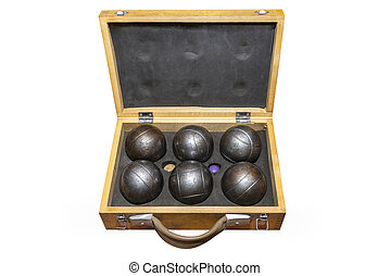 Six metal balls placed in a old wooden box, used in game petanka, isolated on a white background with a clipping path.