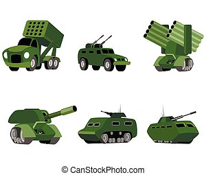 Six military vehicle - Vector illustration of a six military...