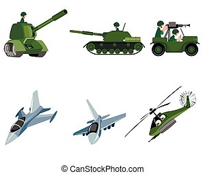 Six military vehicle