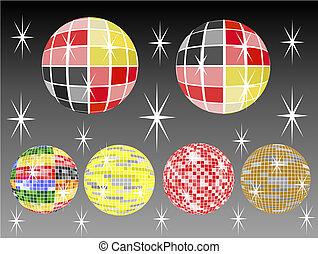 six mirror balls