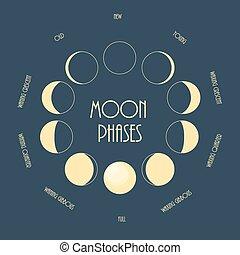 Six moon phases. Minimal flat vector illustration.