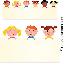 Six multicultural children with blank banner. Vector...