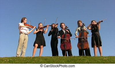 six musicians stands on meadow and plays stringed instruments