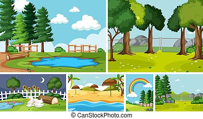 Six nature scenes with different locations