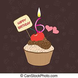 six, nombre, anniversaire, petit gâteau