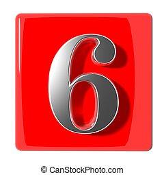 six, nombre, icône