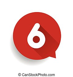 six, nombre, parole, 6, bulle, rouges
