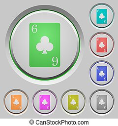 Six of clubs card push buttons