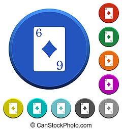 Six of diamonds card beveled buttons