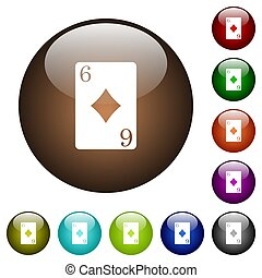 Six of diamonds card color glass buttons