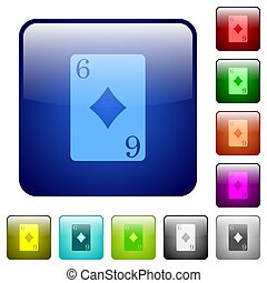 Six of diamonds card color square buttons