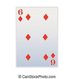 six of diamonds card icon, flat design
