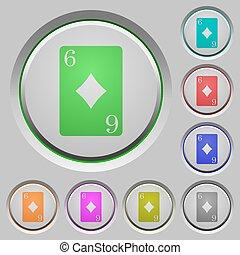 Six of diamonds card push buttons