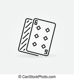 Six of Diamonds vector simple icon in outline style
