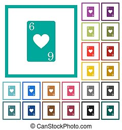 Six of hearts card flat color icons with quadrant frames