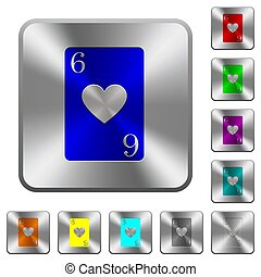 Six of hearts card rounded square steel buttons