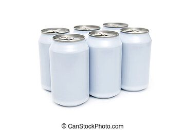 A six pac of off-white beverage cans on a white background