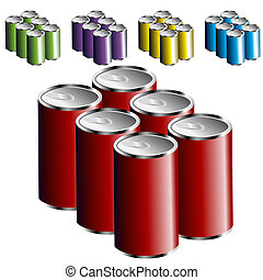 An image of a six pack of cans.