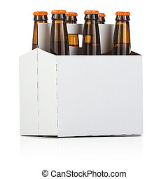 Six Pack of Beer - a six pack bottle of beer on white