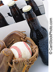 Six Pack of Beer and Baseball Glove