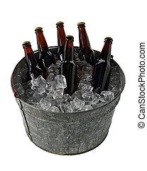 Six Pack of Beer in Ice Bucket - A six pack of homebrew beer...