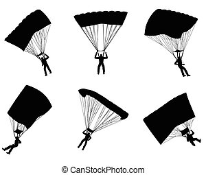 Six parachutists silhouettes