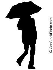 six, parapluies, gens