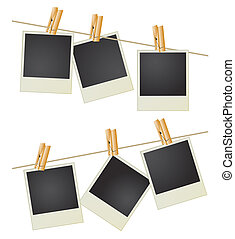 Six photos hang on a cord by means of clothespins