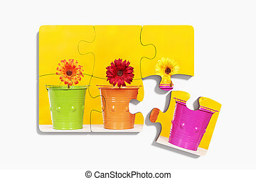 Six pieces of puzzle with potted flowers