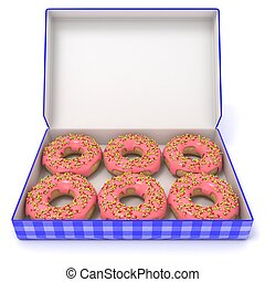 Six pink donuts in blue box. Front