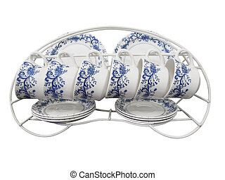 Six Place Set of Cups Plates and Saucers on a Rack
