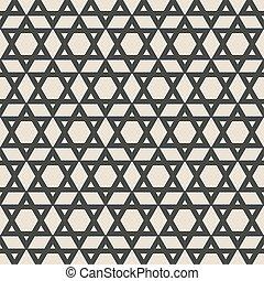 six-pointed star monochrome seamless pattern