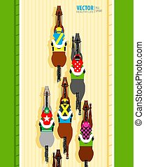 Six racing horses competing with each other. Banner. Universal template for a website. Horse racing. Hippodrome. Racetrack. Top view. Vector illustration.