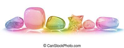 Six rainbow coloured crystals
