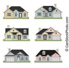 An illustration of Six different beautiful ranch homes