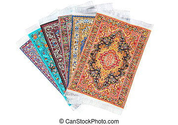 Six rectangular carpets lie in form fan on white background