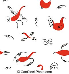 Six red birds seamless pattern. National scandinavian paintings. Folk handicrafts. Enchanting original Simplicity.