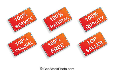 Six red business promo stickers