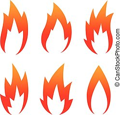 six Red Flame Icon set isolated on a white